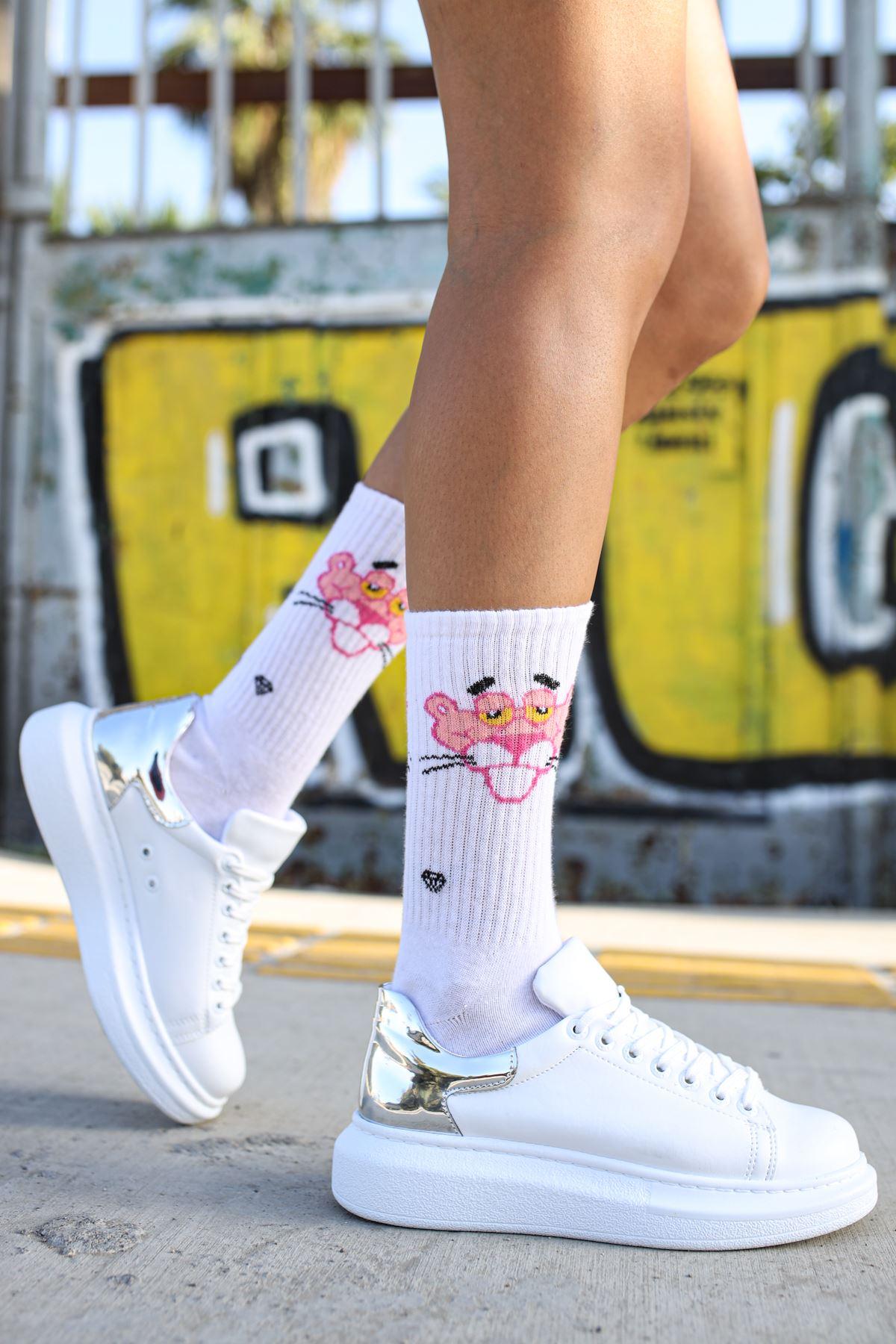 Chekich CH259 BT Kadın Ayakkabı BEYAZ / GUMUS