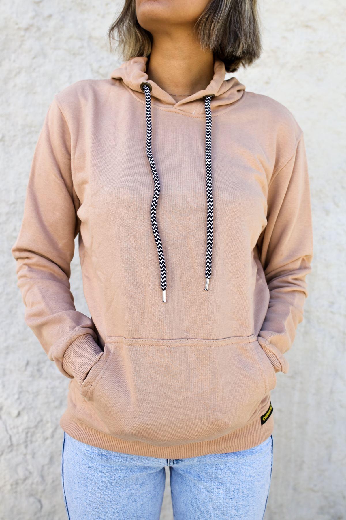 Kapüşonlu Kadın Sweatshirt GÜL KURUSU