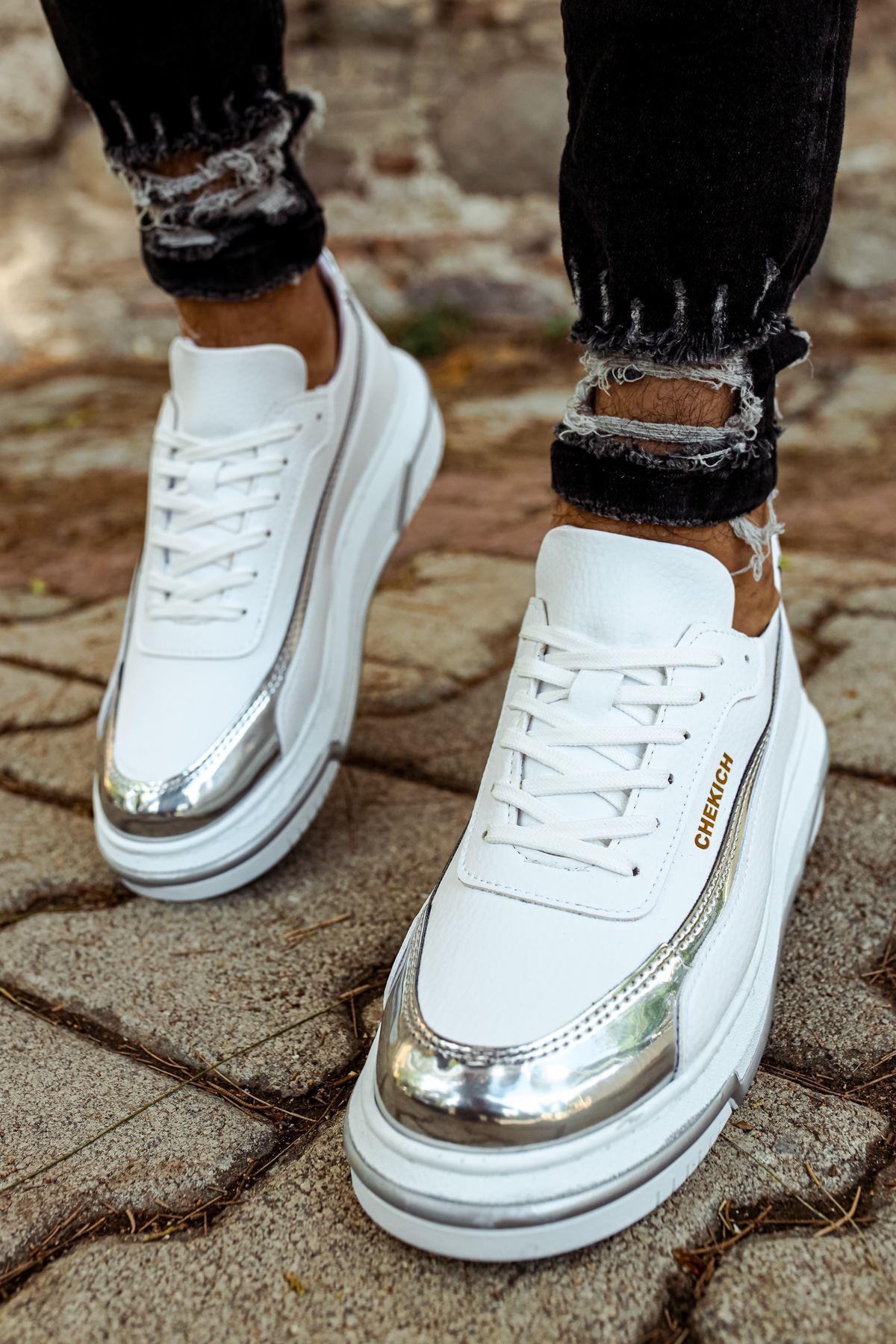 Chekich CH041 BT Erkek Ayakkabı BEYAZ / GUMUS