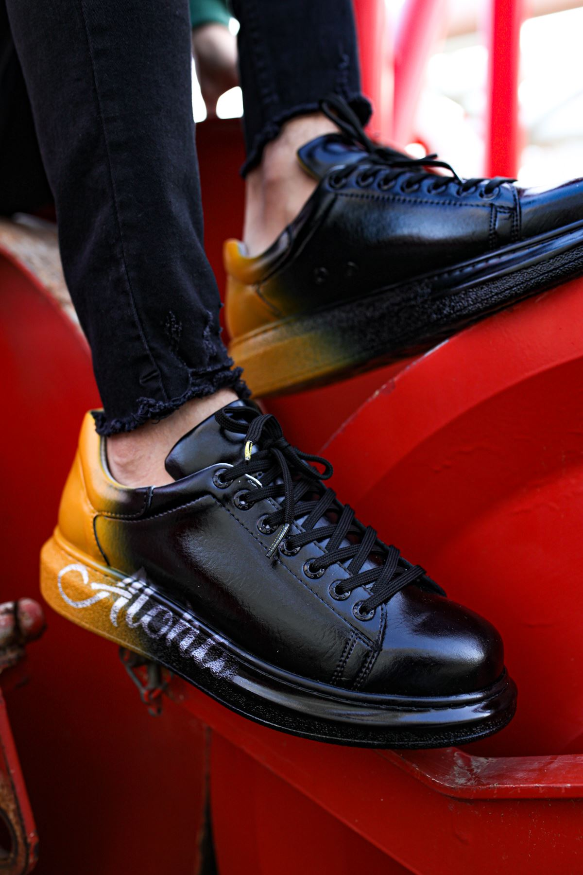 Chekich CH254 ST Erkek Ayakkabı 476 SİYAH / SARI ALOHA