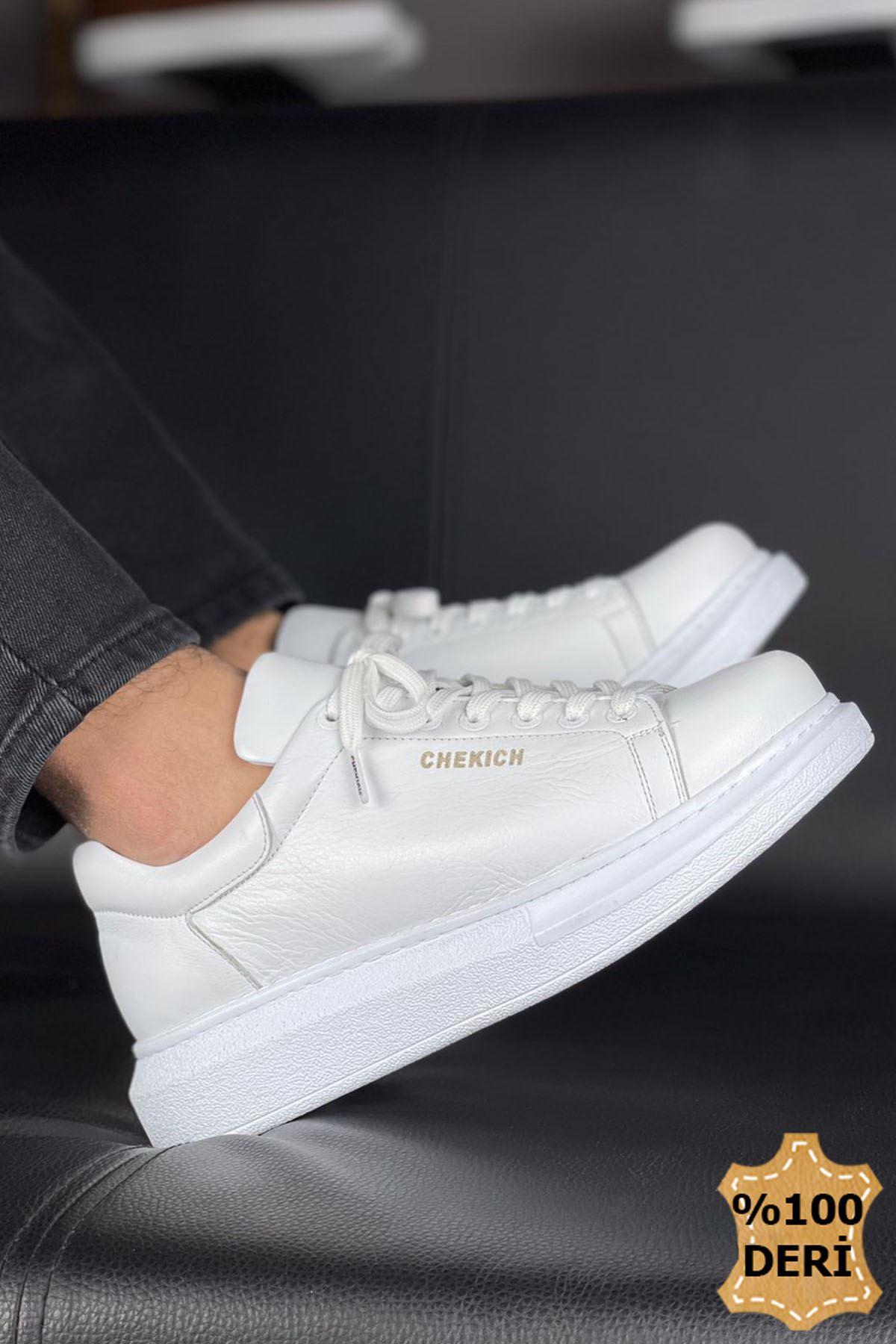 Chekich CH257 BT Hakiki Deri Erkek Ayakkabı BEYAZ