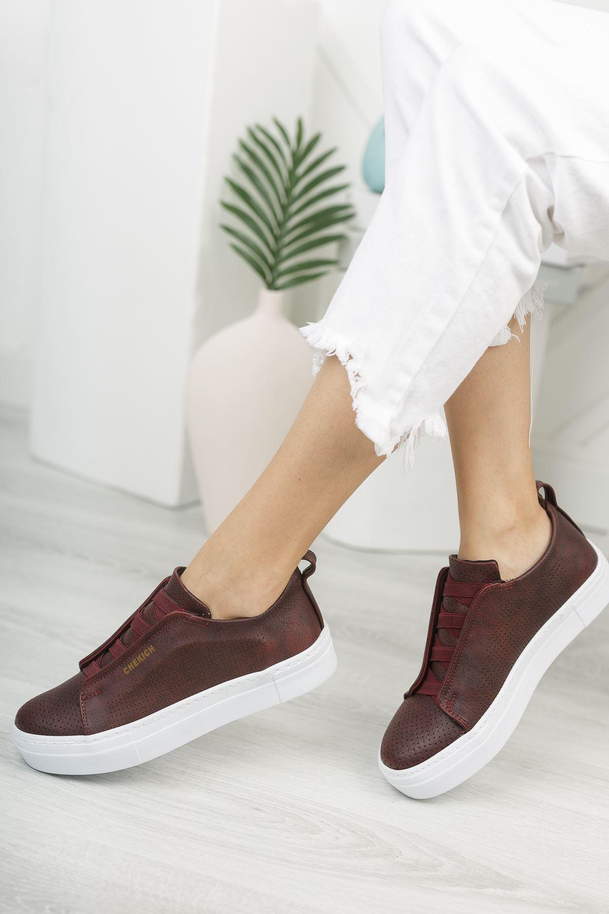 Chekich CH011 BT Kadın Ayakkabı BORDO