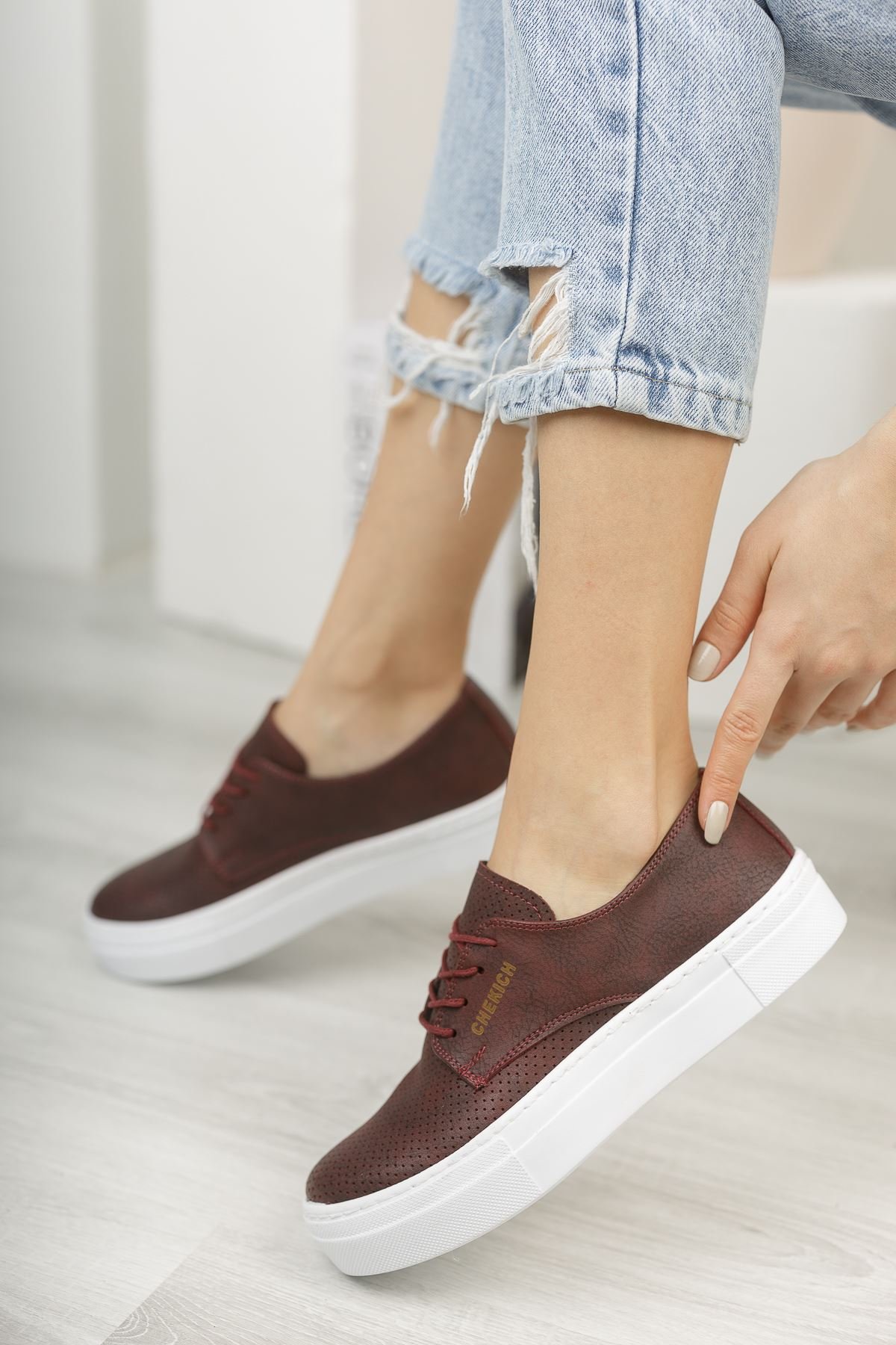 Chekich CH061 BT Kadın Ayakkabı BORDO