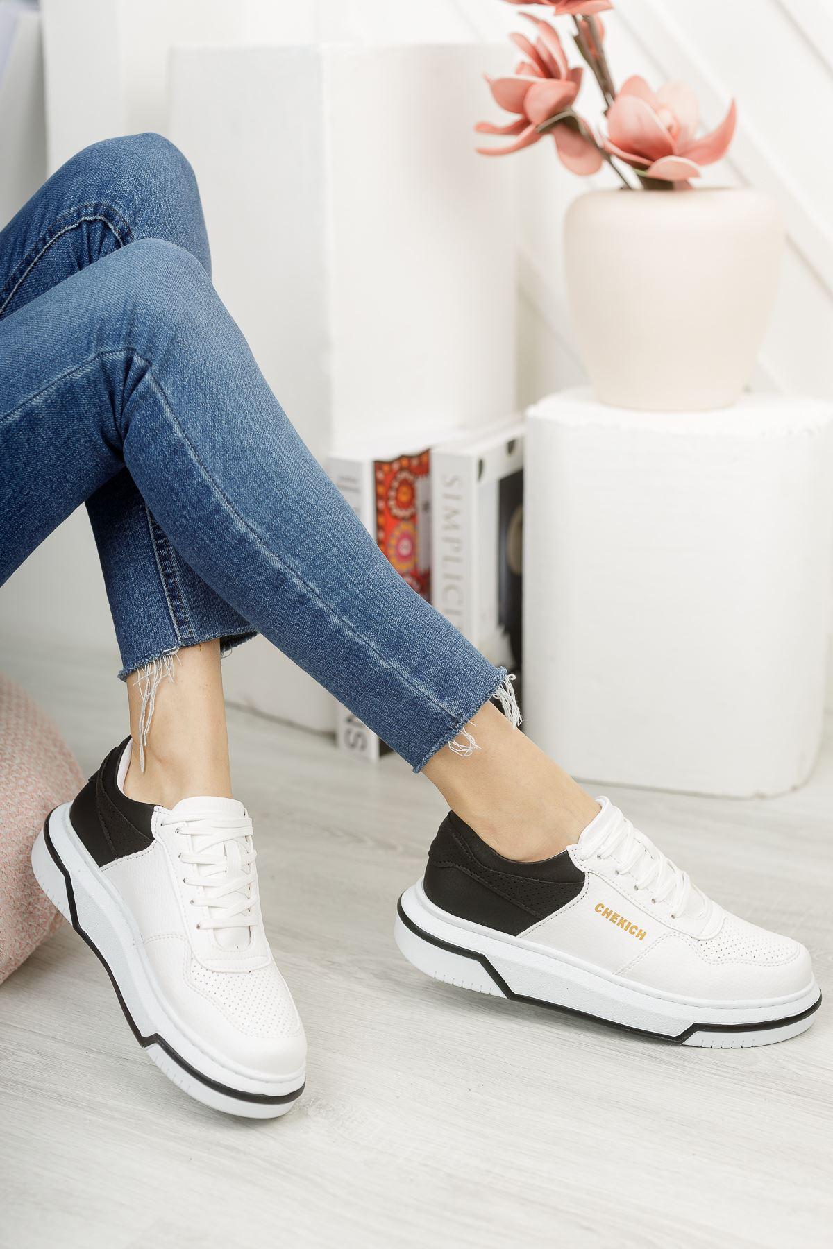 Chekich CH075 İpekyol BT Kadın Ayakkabı BEYAZ/SİYAH
