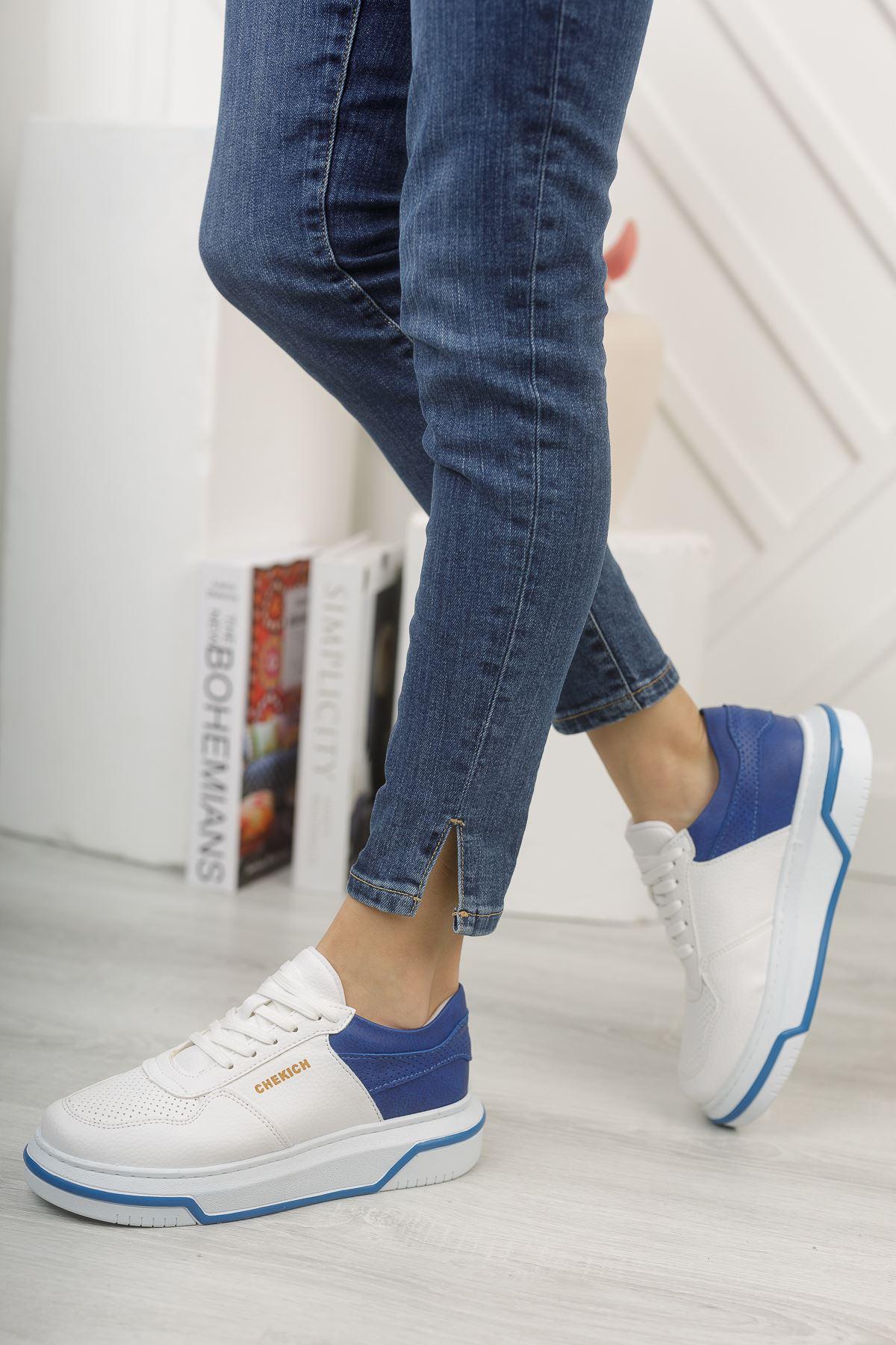 Chekich CH075 İpekyol BT Kadın Ayakkabı BEYAZ / SAX MAVİ