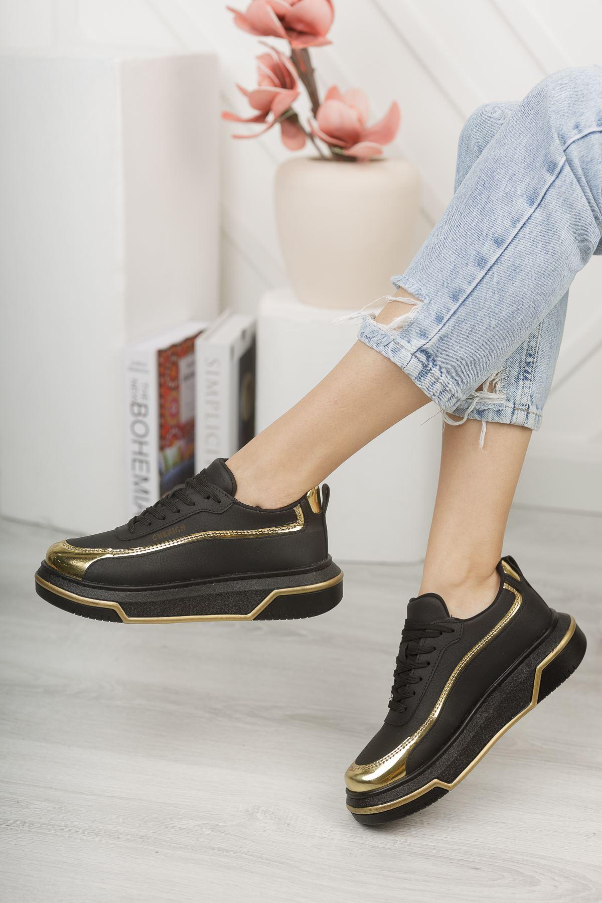 Chekich CH041 ST Kadın Ayakkabı SİYAH / ALTIN