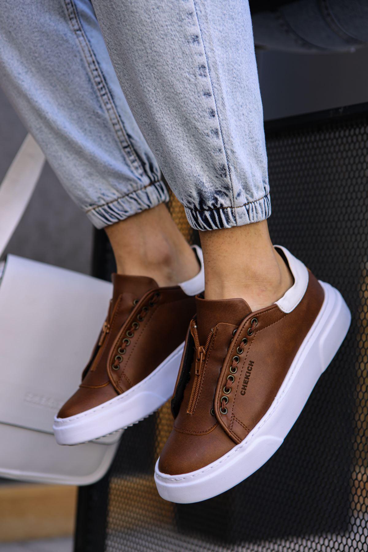 Chekich CH092 GBT Erkek Ayakkabı TABA / BEYAZ